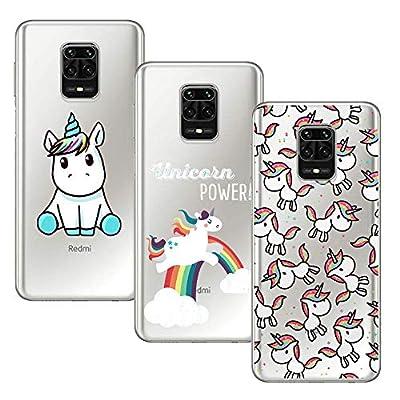 Young & Min Funda para Xiaomi Redmi Note 9S/Redmi Note 9 Pro, (3 Pack) Transparente TPU Silicona Carcasa Delgado Antigolpes Resistente, Unicornio