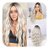 PJPPJH Wigs for Women Human Hair Lace Front Wig Human Hair,Long Wavy Shadow Blonde Wig Platinum Blonde Synthetic