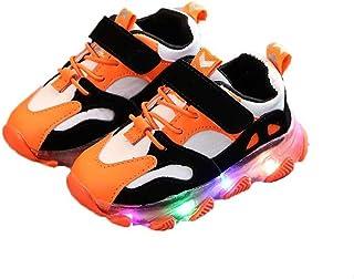 Niños niñas Zapatillas Ligeras otoño e Invierno niños LED Luces Zapatos cómodocuero Suave Antideslizante Zapatos Planos be...