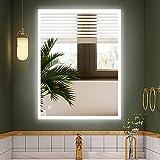 S'bagno Espejo de baño LED iluminado de 600 x 800 mm, con altavoz Bluetooth incorporado, función de atenuación, cambio de color de luz, almohadilla antiempañamiento y sensor táctil