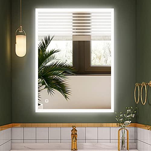 S'bagno Espejo de baño LED iluminado, con altavoz Bluetooth integrado, función de atenuación, cambio de color, almohadilla desempañada e interruptor de sensor táctil (600 x 800 mm)