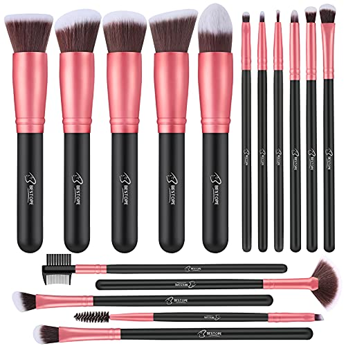 Makeup Brushes 16 PCs Makeup Brush Set Premium Synthetic Foundation Brush Blending Face Powder Blush Concealers Eye Shadows Make Up Brushes Kit (Rose Golden)