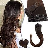 Extension a Clip Pas Cher Cheveux Naturel Rajout Vrai Cheveux Humain Lisse - 8 Bandes pour Cheveux Fin (#1BT4 DEGRADE NOIR NATUREL A MARRON MOYEN, 25cm-50g)