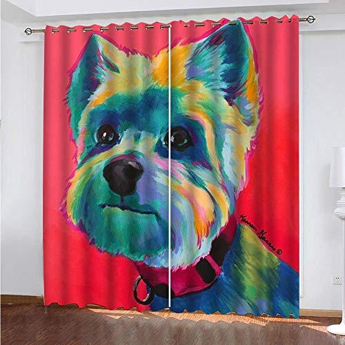 LUOWAN Cortinas para Dormitorio Moderno Salon Perro Animal Pintado - 280x290cm Cortinas Termicas Aislantes Frio Calor Ruido Antimoscas para Dormitorio Infantil/Decór Ventan