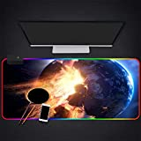 Mouse Pads Comet Hit The Earth Planet Explosion RGB Gaming Mouse Pad LED Lighting Computer Keyboard Laptop Large Mouse Mat,27.6×11.8 Inches