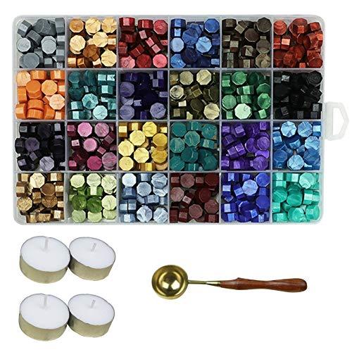 Aiboria 600 Stück Siegelwachsperlen, Siegelwachs für Wachssiegelstempel, Sechskantwachs-Siegelperlen mit einem Wachslöffel und 4 Stück Teekerzen (24 Farben)