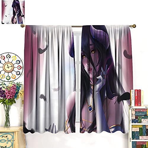 Albedo-OverLord - Cortina de tela con ojos amarillos, diseño de labios de cereza, diosidad y anime, 2 paneles personalizados, 214 x 214 cm