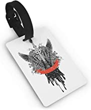 Luggage tag,Rock Music,Guitar Wings Leaf Pattern Ribbon Color Dripping Electronic Instrument Design,Women's The Getaway Luggage Tag Scarlet Black