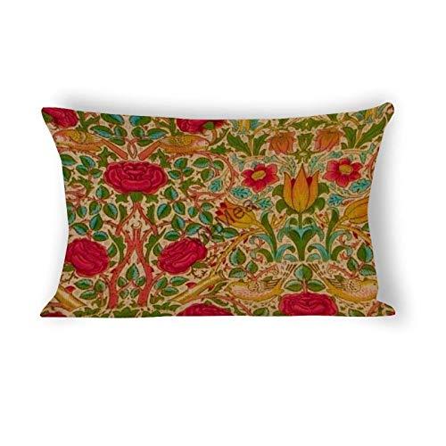 CTRGSM Flor con Funda de cojín Verde, Funda de Almohada para sofá Dormitorio Cubierta de Almohada de Coches 12'x 16' FDWFN