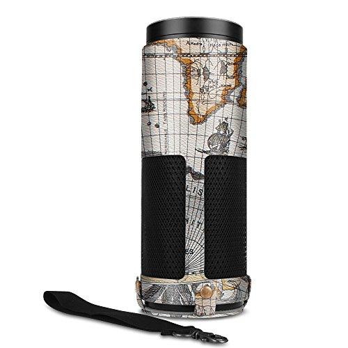 Fintie Amazon Echo Hülle - Premium Kunstleder Schutzhülle Case Tasche mit Abnehmbarem Band für Amazon Echo, Landkarte Design