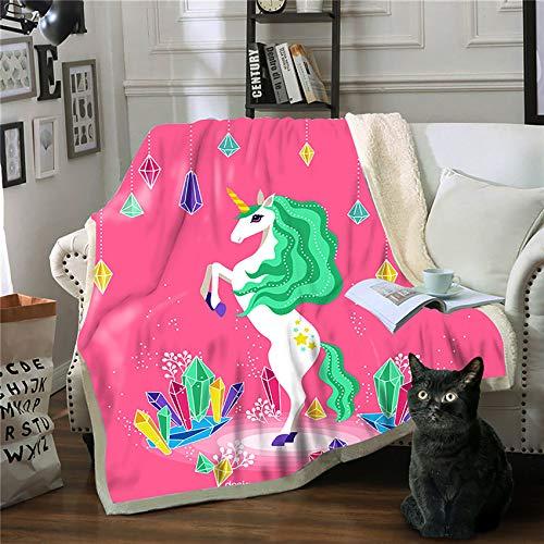 Hengqiyuan Geschenke für Mädchen - niedliche Einhorn-Decken für Mädchen, Flauschige Bunte Wolldecken, warme weiche Decken, niedliche Decken, Kinder,K,150 * 200