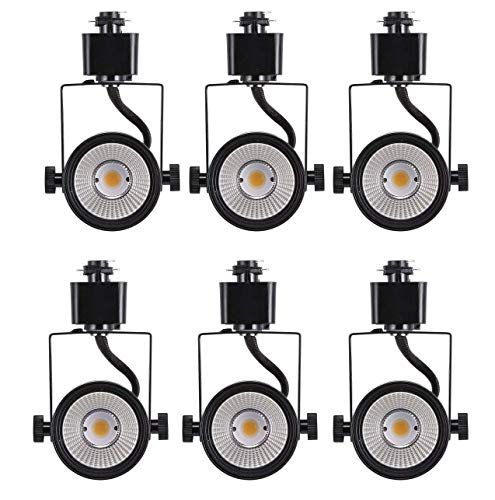 Cloudy Bay 8W Dimmable LED Track Light Head,CRI 90+ Warm White 3000K,Adjustable Tilt Angle Track Lighting Fixture,120V 40° Angle for Accent Retail,Black Finish Halo Type - Pack of 6