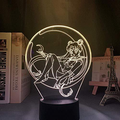 Acrílico llevó la luz de la noche de la lámpara anime marinero luna para el dormitorio decorativo habitación luz nocturna regalo de cumpleaños 3D mesa manga