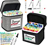 Bianyo Alcohol-Based Dual Tip Art Markers Combine Set,...