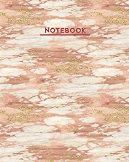Notebook: Rose Gold White Marble Vein 8 x10 Blank Lined 160 Page Softcover Journal, College Ruled Composition Notebook