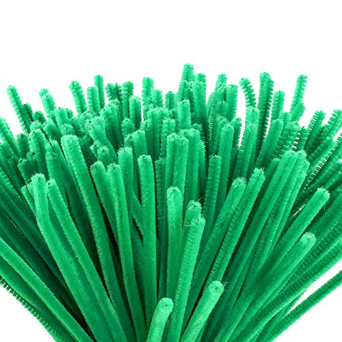 Caydo 200 Pieces Green Pipe Cleaners Craft, for DIY Art Craft Decorations(6 mm x 12 inch)