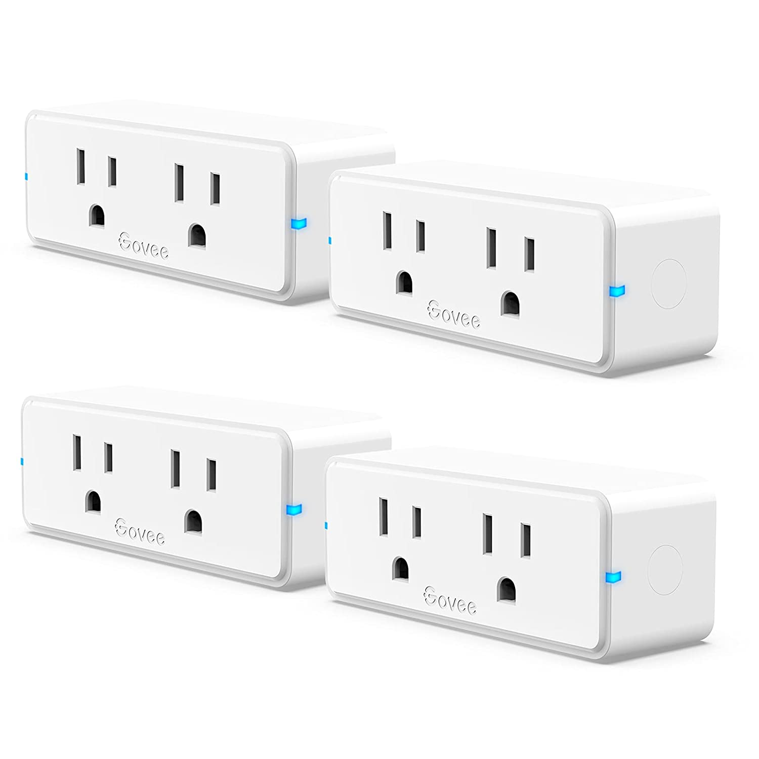 Govee Dual Smart Plug 4 Pack, 15A WiFi Bluetooth Outlet, Work with Alexa and Google Assistant, 2-in-1 Compact Design, Govee Home App Control Remotely with No Hub Required, Timer, FCC and ETL Certified