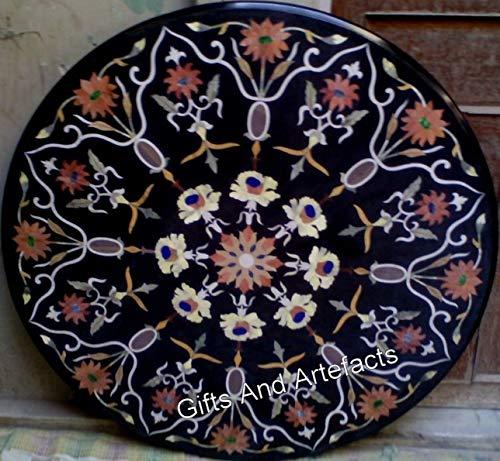 Mesa de comedor de mármol negro con aspecto elegante y piedra cornalina de Cottage Handicrafts de 100 cm