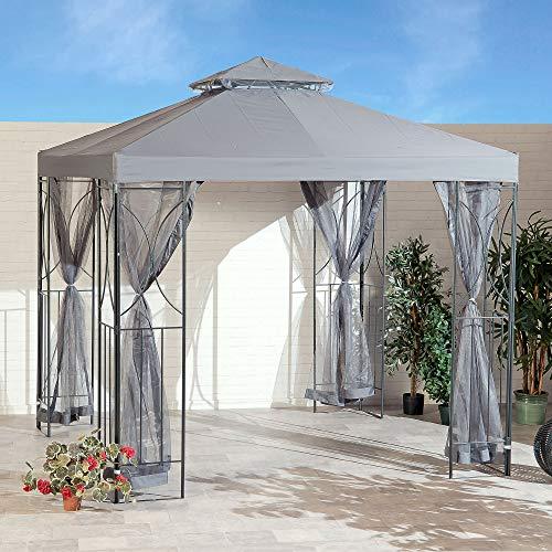 SunTime Polenza 2.5m Outdoor Garden Patio Gazebo Shelter with Mosquito Net Sidewalls
