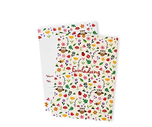 12 Blumenwiesen Einladungskarten zum Kindergeburtstag / Blumen / Geburtstagseinladungen / Einladungen / Geburtstag / Kinder / Jungen / Mädchen / Karten / Sets