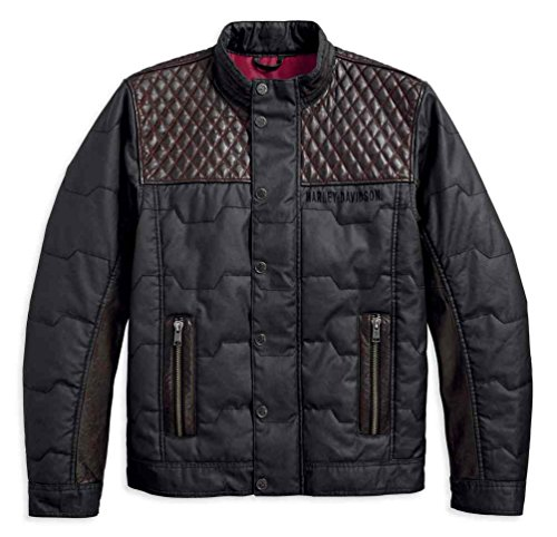 Harley-Davidson Men's Quilted Red Leather Accent Jacket, Black 97441-18VM (XL)