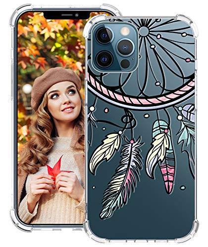 Opplee, custodia in silicone per iPhone 12 Pro 6,1 pollici, 5G, motivo acchiappasogni, in TPU, trasparente