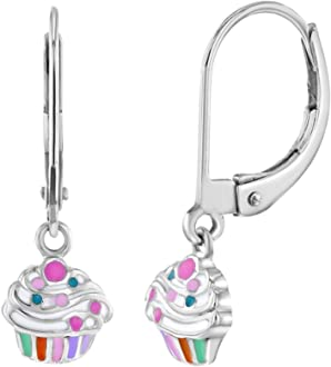 925 Sterling Silver Teddy Bear Lever Back Dangle Earrings for Girls or Pre Teens