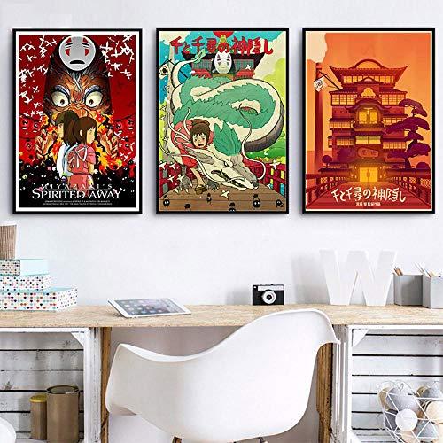 Générique - Tableau Art Mural Nordique Japonais Anime Hayao Miyazaki Film Spirited Away Impression sur toile, 35x50cmx3pcsNo Frame