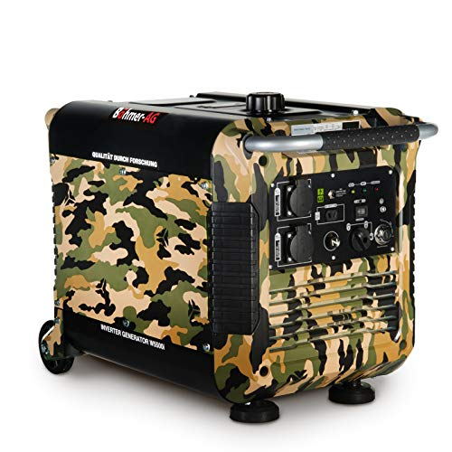 Böhmer-AG Camo Petrol Inverter Key Start Generator W5500i, 3.0 KW, Ultra Low Noise - UK Plugs