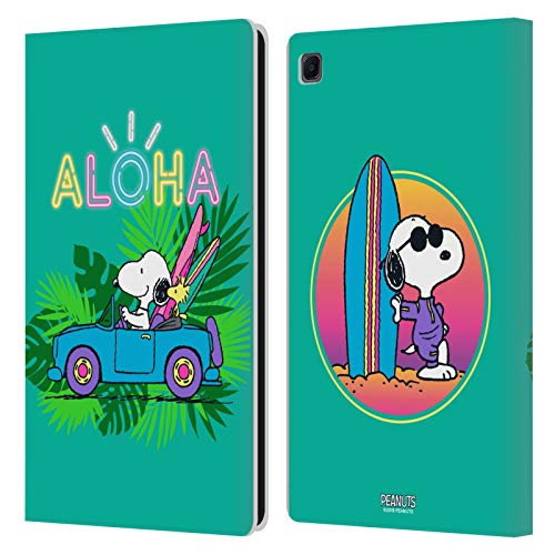 Head Case Designs Licenza Ufficiale Peanuts Surf Tropicale Snoopy Aloha Disco Cover in Pelle a Portafoglio Compatibile con Samsung Galaxy Tab S6 Lite