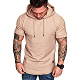 iHPH7 Sweatshirt Men Fashion Athletic Casual Hoodies Short Sleeves Loose Fit Solid Color Casual Popular Large Size (XL,Khaki)