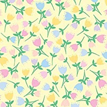 Clearance Sale~Easter, Tossed Tulip on Buttercup Yellow - Benartex Cotton Fabric