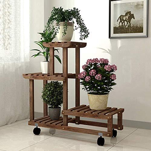 LDDYC Estante de almacenamiento de flores Soporte de flores con rueda universal al aire libre de madera maciza soporte de planta interior multifunción estante de almacenamiento 1121