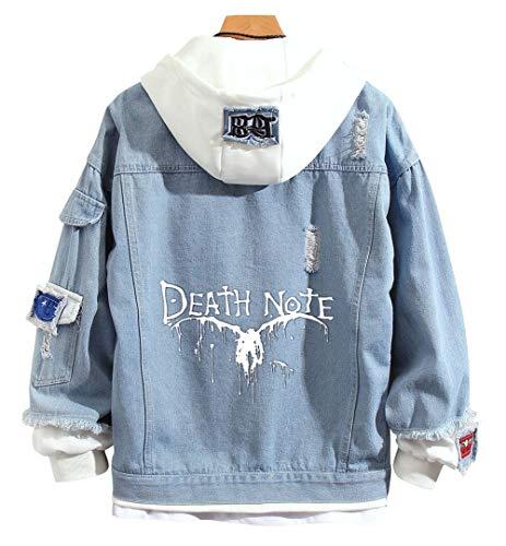 RuihaiTra Anime Death Note Hoodie Light Yagami Sweatshirt Jacke Denim Hooded Erwachsene Cosplay Pullover Gr. M, 4