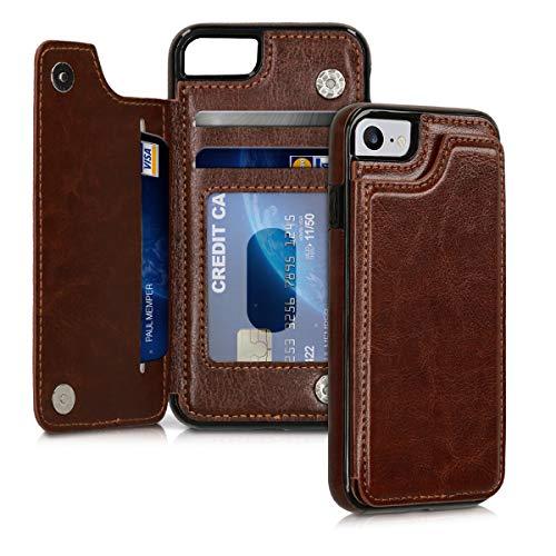 kwmobile Funda para Apple iPhone 7/8 - Case Trasera de Piel sintética con Tarjetero y Soporte - marrón