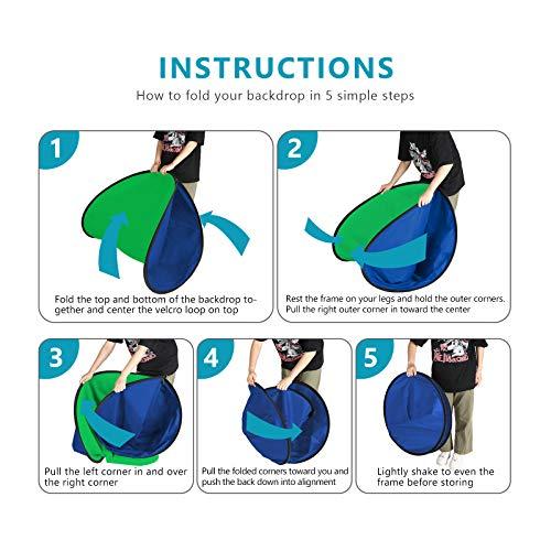 Neewer 150x200cm Chromakey Blau-Grün Hintergrund mit Stativset: 2-in-1 Aufklapp Soft Diffusor mit umkehrbarem Hintergrund für Fotostudios Live-Streaming usw