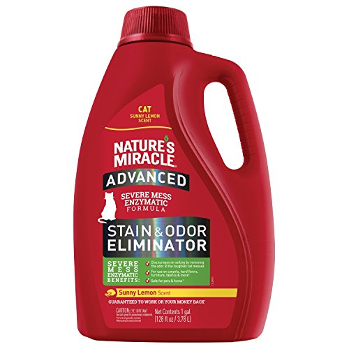 Nature's Miracle P-98146 Cat Advanced Stain and Odor Eliminator, Sunny Lemon Scent, Enzymatic Formula for Urine Stains, Diarrhea Stains and Vomit Stains, Odor Control, 128 fl oz