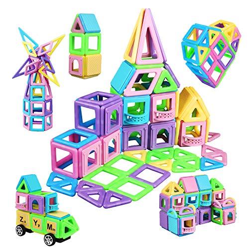 Lumineszierend Magnetische Bausteine 114Pcs Magnetic Bauklötze Baukasten Kinder | 3D Macaron Lernen & Entwicklung Bausteine Spielzeug | Perfekt für den Einsatz zu Hause, in Schulen, Kindertagesstätten
