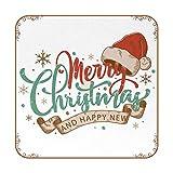 Posavasos Cuadrados para Bebidas Fondo navideño Estampado de Cuero Tazas Estera para Muebles de Madera,Vidrio,Mesa de Centro Proteger,Juego de 6