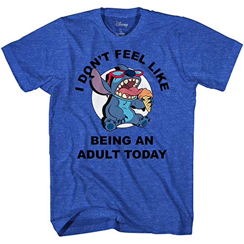 Disney Lilo And Stitch Don't Feel Like Being an Adult Tee Funny Humor DIsneyland Graphic Adult T-Shirt(Heather Royal,X-Large)