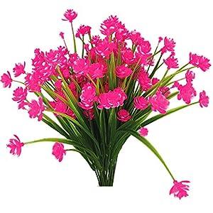 Silk Flower Arrangements JEMONG Artificial Fake Flowers, 4 Bundles Outdoor UV Resistant Greenery Shrubs Plants Indoor Outside Hanging Planter Home Garden Decorating(Pink)