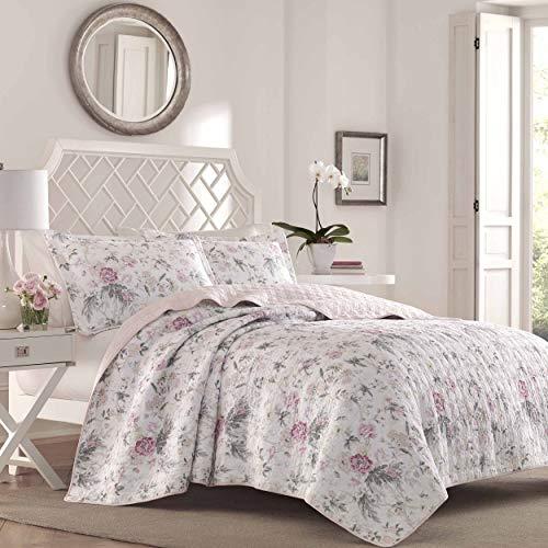 Laura Ashley Home - Breezy Floral Collection – Luxuriöses Premium-Steppdecken-Set, für alle Jahreszeiten, stilvolle Bettwäsche, Full/Queen, Pink/Grau