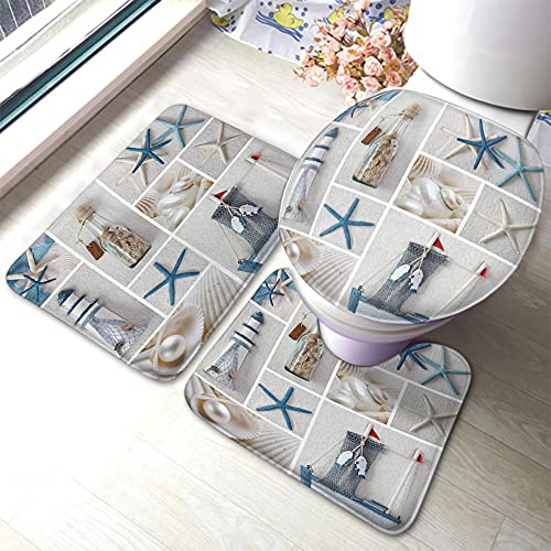 HOSNYE Collage of Sea Stars Swimming Pool 3 Pieces Bathroom Rug Set Blue White Beach Lighthouse Drift Bottle Conch Pearl Fishing Boat Summer Ocean U-Shaped Contour Rug Floor Mat and Toilet Lid Cover