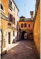 HD 7x10ftの建物ビニール写真撮影の背景文化的建築ヴェネツィアのレトロな街アーチゲート石の道背景恋人結婚式日付お金月肖像画写真