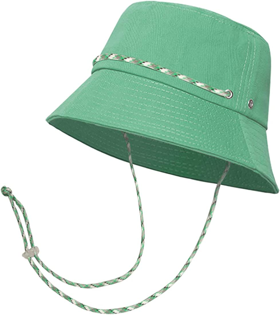 MIRMARU Women's Solid Color Cotton Foldable Outdoor Sun Bucket Hat with Adjustable Sting.