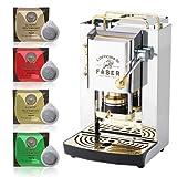 Cafetera de monodosis ese filtro papel 44 mm Faber Pro Deluxe acero inoxidable con acabado en latón con 50 cápsulas de regalo Emporio del café