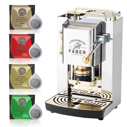 Macchina caffè a Cialde ese Filtro Carta 44mm Faber Pro Deluxe Acciaio Inox con Rifiniture in Ottone con 50 cialde Omaggio Emporio del caffè