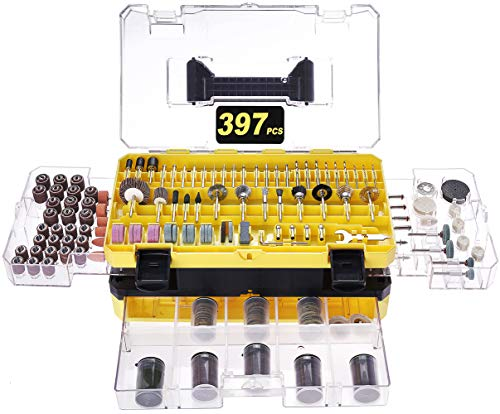 Rotary Tool Accessories Kit, Longmate 397 Piece 1/8 Inch Shanks Electric Tool Accessories for Easy Drilling, Cutting, Grinding, Sanding, Sharpening, Carving and Polishing
