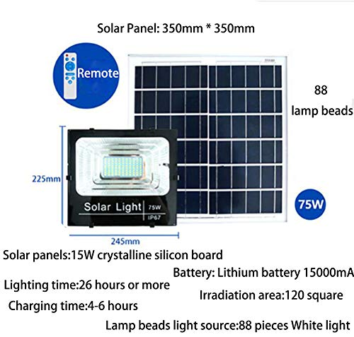 JDD Outdoor Solar schijnwerper High Power LED inductieverlichting patio licht intelligente lichtbesturing IP67 waterdicht 3,2 V voor tuin hek patio patio poort (7 energieopties), 75 W