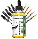 Natural Riches Eyelash Growth Serum, Pure Organic Cold Pressed Castor Oil USDA Certified, Promotes Eyebrows & Eyelash Growth - 1 fl oz